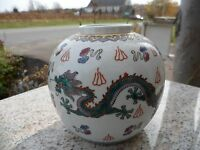Vintage Asian Dragon White Ginger Jar China Chinese Porcelain Oriental no Lid