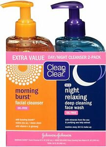 Clean & Clear Morning Burst, Day + Night Relaxing Face Wash 240 mL ea Night Pack