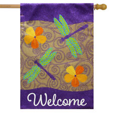 "Dragonflies Burlap House Flag Seasonal Floral 28"" x 40"" Briarwood Lane"
