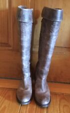 FRYE Tall Cuff Leather Boots, Size 7B, Distressed Gray,