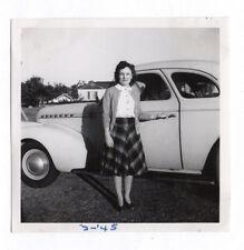 PHOTO ANCIENNE Voiture Auto Automobile Américaine USA Portrait Vers 1950 Femme