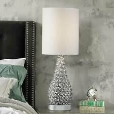Modern Table Lamp Crystal Bead Silver Gourd White for Living Room Bedroom