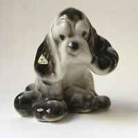 Adorable Vintage Black & White Cocker Spaniel Dog Figurine Sculpture