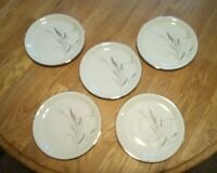 "5 Easterling Salad Plates 8 1/4""  China Porcelain '58 Ceres Pattern Wheat Silver"