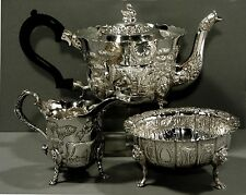 Irish Sterling Tea Set       Cows in Pasture  Swan   Lion         43 Ounces