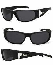 Locs Mens Cholo Biker Gangsta OG Style Sunglasses - Matte Black Frame - LC22