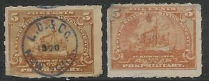 2 TYPES LAZELL, DALLEY CO HANDSTAMP CANCELS RB31 1898 Battleship Revenue Stamps