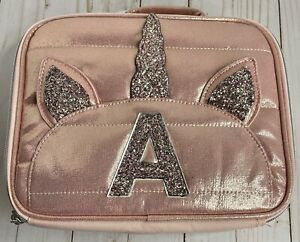 Justice Girls Quilted Rose Gold Lunch Box Bag Initial Letter A Unicorn New NWT