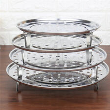 Stainless Steel Steamer Rack Insert Stock Pot Steaming Tray w/ 3 Stand Cookware