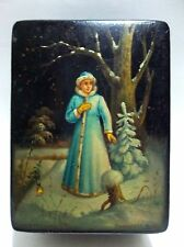 Vintage Russian Fairy Tale LACQUER Box SNOW Forest USSR SIGNED