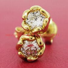 Genuine Solid 9k Yellow Gold Engagement Wedding Rose Stud Earrings Lab Diamonds