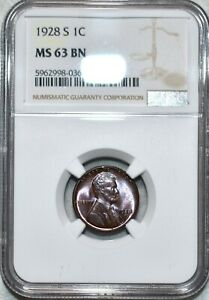 NGC MS-63 BN 1928-S Lincoln Cent, Attractively toned specimen.