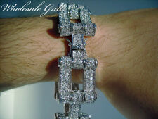 "NEW! $369 Mens 8.5"" 14K White Gold GP CUSTOM Simulated Diamond HipHop Bracelet!!"