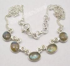 "925 SOLID Silver BLUE FIRE LABRADORITE HANDCRAFTED Necklace 16.8"" BIJOUX"
