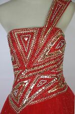 $420 TERANI Couture P1633 Red Cruise Prom Formal Evening Ball Gown Gala Size 6