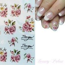 Nagelsticker Blume Nailart Tattoo Rose Nagelaufkleber mit Blüten Blatt ST403