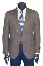NWT TOMBOLINI BLAZER jacket wool brown herringbone 2 button Italy eu 54 us 44