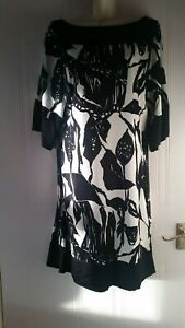 Coast Womens Smart Work Party Dress Black White Floral Sz 14~Immaculate