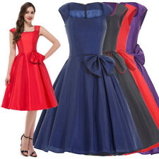 Cheap Vintage 50s Swing Evening Cocktail Party Dress Retro Bow Mini Swing Dress