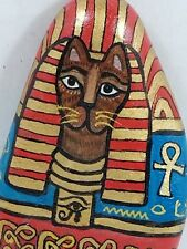 """Signed/Dated 1998 Cat Gems """"Egypt Cat #12"""" Painted Stone by Nancy Diamond, Mint"""