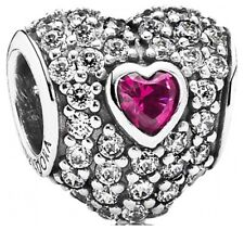 Cz & Synthetic Ruby - 791168Sru Pandora In My Heart Charm - Clear