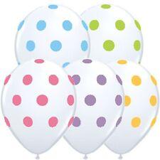 "25ct- Assorted Colors on White Polkadot Polka Dot Spots 11"" Latex Balloons"