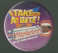 VINTAGE 1988 3MUSKETEERS PROMO PINBACK BUTTON MARS, INC.