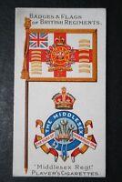 Middlesex Regiment   Original 1904 Vintage Colours & Badge Card  VGC