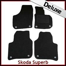 Skoda Superb Mk2 2008-2015 Fully Tailored LUXURY 1300g Carpet Car Mats BLACK
