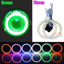 2pcs 70mm Green Car Motorcycle Headlight Angel Eyes Halo Cob LED Ring Lights DRL