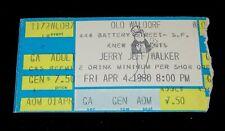 Jerry Jeff Walker 1980 Original Concert Ticket Stub * San Francisco