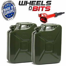 2 x NEW HIGH QUALITY METAL POWER COATED GREEN JERRY CAN 20L LITRE WITH SPOUT