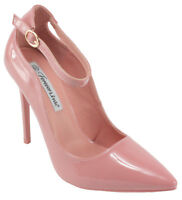 Forever Grace-8P Patent Leatherette Pointed Toe Ankle Strap Stiletto Dress Pumps