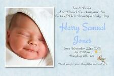40 Personalised Baby Thank You Announcement cards Boy ~ blue n11