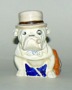 SUPERB, EARLY, RARE ROYAL DOULTON  BULLDOG  IN UNION JACK DERBY HAT MIDDLE SIZE