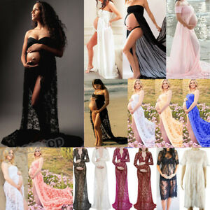 Pregnant Women Lace Maternity Sheer Dress Gown Photography Photo Shoot Beachwear