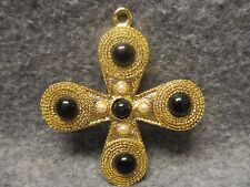 Religious Gold Plated Consecration Cross Pendant Bead & Faux Pearl Accents 3""