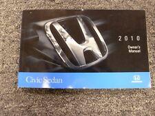 2010 Honda Civic Sedan Owner Owner's Manual User Guide DX LX EX EX-L Si GX