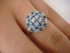 18K WHITE GOLD & PAVE SET BLUE SPINEL LADIES RING, 5.8 GRAMS, MADE IN ITALY.