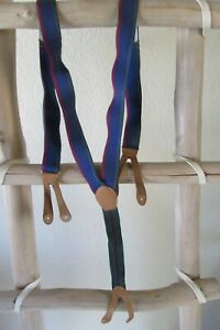 NEW VINTAGE CAS NAVY/GREEN ELASTIC BROWN LEATHER BUTTON-ON SUSPENDERS W. Germany