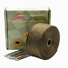 "LEDAUT 2""x 25' Titanium Exhaust Header Wrap for Motorcycle Exhaust Tape With Sta"