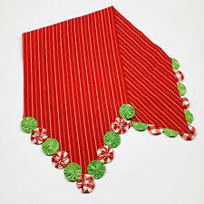 Yo-Yo Christmas Merry Red Stripe Plaid Snowflake Holiday Cotton Table Runner