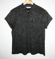 Bonmarche Women's Black Metallic Floral Short Sleeve Shirt Blouse Top Size M