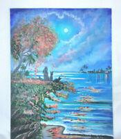 "Original Acrylic Painting 11""x14"" Canvas Panel,Fall Cats Sea Ocean Decor Art"