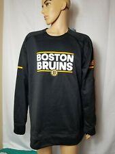 Boston Bruins L/S Player Crew Adidas Authentic Black NHL Hockey Mens 2XL New NWT