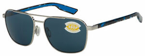 Costa Del Mar Wader Sunglasses 6S4003-1458 Brushed Silver | Gray Polarized 580P