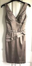 Jane Norman Ladies Shift Dress UK Size 8 Stretchy Peplum Metallic Blush Nude