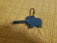 Vintage 1960's Trunkey Blue Elephant Talking Storybook Key To The Zoo Plastic