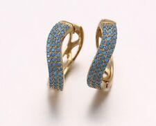 18K LUXURY GOLD FILLED BLUE TURQUOISE TRENDY CURVE WOMENS HOOP 22MM EARRINGS
