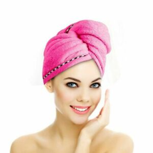 3 PCS Rapid Fast Drying Hair Absorbent Towel Turban Wrap Soft Shower Bath Cap